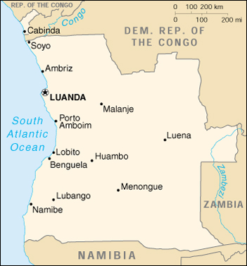 [Country map of Angola]