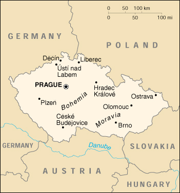 [Country map of Czech Republic]