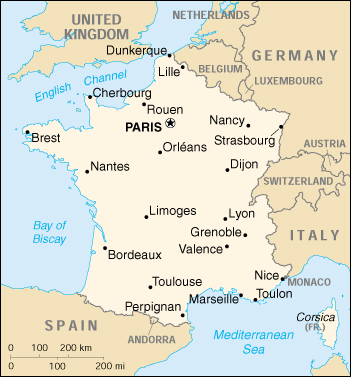 [Country map of France]