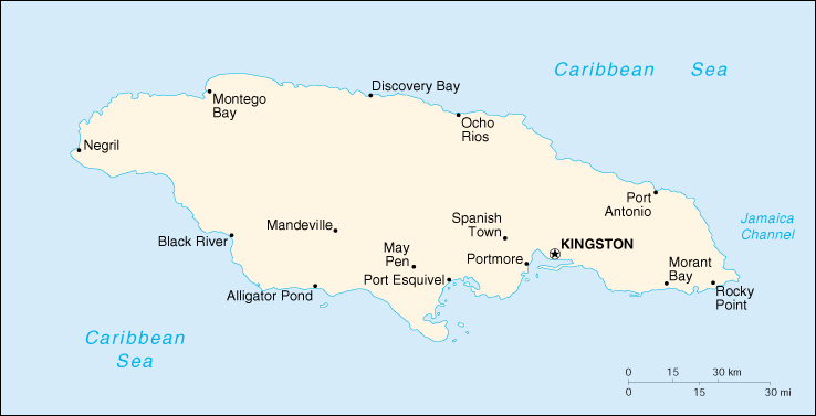 [Country map of Jamaica]