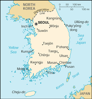 [Country map of Korea, South]