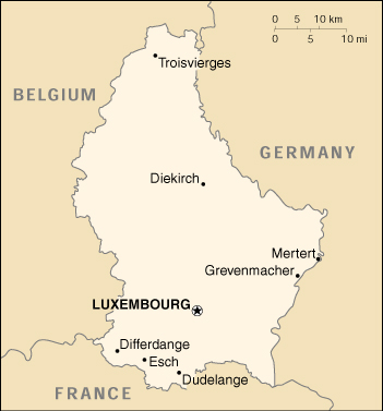 [Country map of Luxembourg]