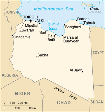 [Country map of Libya]