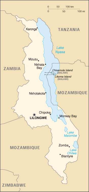 [Country map of Malawi]