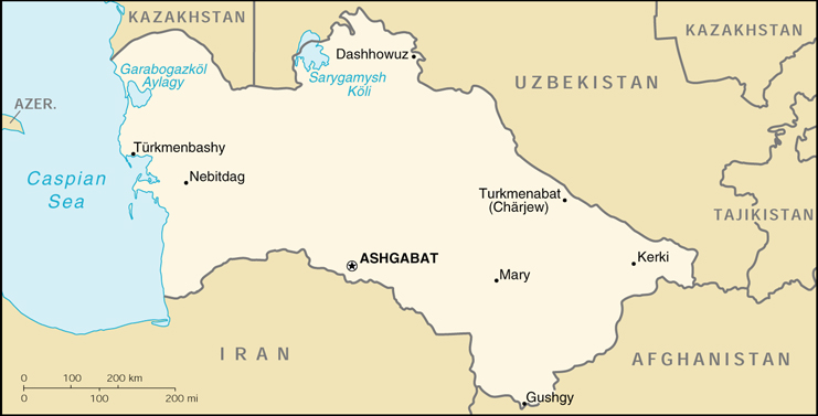 [Country map of Turkmenistan]
