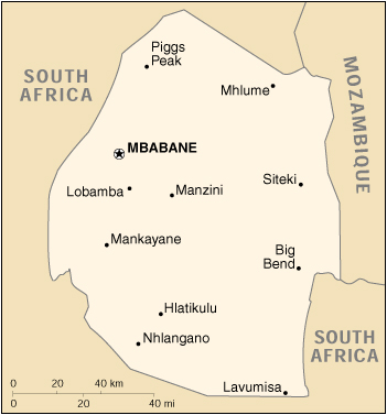 [Country map of Swaziland]